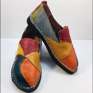Gusitu Leather Patchwork Slip Ons